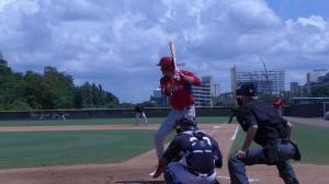 Moniak first pitch